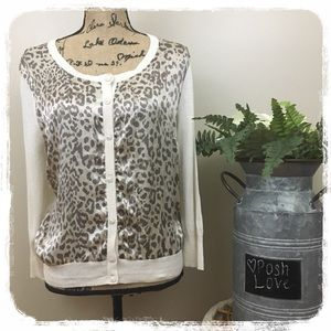 Lucky Brand Silky Cheetah Print/Cream sweater XL